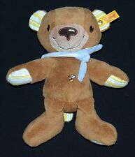 Steiff Plush Baby Bear w/Scarf Stripe Paw Pads & Button & Yellow Flag