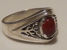 Celtic Tree of Life Ring .925 Sterling Silver Sz 9 w/ Natural Carnelian gem