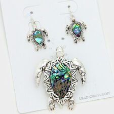 Turtle Pendant Earrings SET Starfish Sea Life SILVER ABALONE SHELL Beach Jewelry
