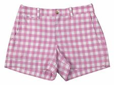 """Ralph Lauren Polo Womens 3.5"""" Checked Pony Logo Cotton Shorts Pink/Navy/Whit New"""