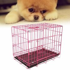 "20"" Small Dog Cage Pet Puppy Crate Folding Metal Training Travel Carrier Pink Mr"