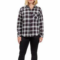 Women's VANS Brimms 2 Flannel Shirt Black White Plaid New