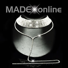 Dangle Silver Plated Bling Choker Necklace