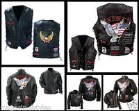 Gilet jacket blouson sans manche Cuir / Grande taille - S à 7XL - biker country