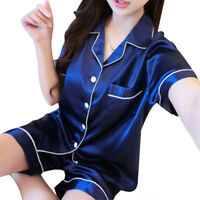 Dark Blue Silk Women Short Sleeve Nightwear Sleepwear Dress Pajamas 2 Piece Set