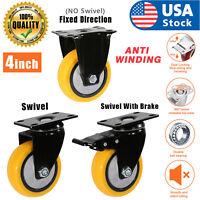 USA 4 Inch Caster Wheels Swivel Plate Total Lock Brake On Yellow Polyurethane