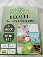 Bezalel Reusable Silicone Food Bags 4pack 50 oz Reusable Sandwich bags Container