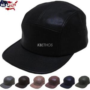 5 Panel Hat Cap Fresh Faux Leather Biker Cycle Hat Adjustable Leather Strap NEW