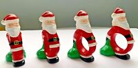 Vintage Christmas Santa Claus Ceramic Mold Napkin Rings Figural Figurine Set 4
