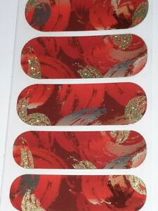 Jamberry TWIST VELVET CRUSH Half Sheet CHRISTMAS Nail Wraps Red Sparkle FALL 1/2
