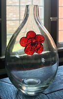 "Art Glass 10"" Hand Blown And Sculptured Gourd Shape Red Flower Vase"