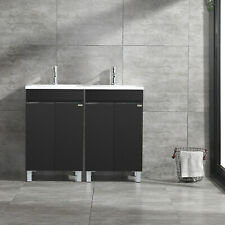 "40"" Double Bathroom Vanity Wood Cabinet Undermount Resin Sink + Faucet Set Black"
