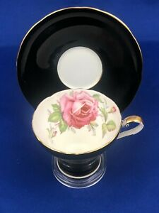 Aynsley Big Roses Black Tea Cup & Saucer  Mint Condition