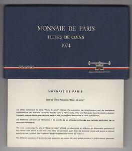 1974 FRANCE 9 COIN SPECIMEN SET WITH SILVER 50 FRANCS