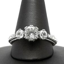 Tacori Sterling Silver Cubic Zirconia 1ctw Past Present Future Engagement Ring