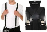 MENS BLACK SUSPENDERS BRACES ELASTIC ADJUSTABLE FORMAL WEDDING WOMENS 100CMS
