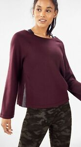NWT Fabletics Isabel Wide Sleeve Pullover XS Small Burgundy Sweatshirt Sweater