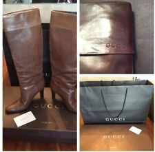 Genuine Gucci Knee High Tan Boots Size 39 - 6