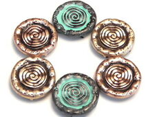 6 - 2 HOLE SLIDER BEADS COPPER ROSE GOLD & COPPER PATINA SOUTHWESTERN SUN DESIGN