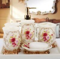 MELAMINE RESIN BATH GIFT SET TOOTHBRUSH HOLDER TUMBLER SOAP DISH ROSE FreeUS S/&H