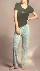NEW Women's Calvin Klein Underwear 2 Piece Pajama Set Cotton CK Logo Detail - SM
