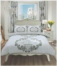 Grey & White France Duvet Quilt Cover With 2 Pillowcase Bedding Set DOUBLE Size