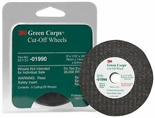 """3M 01990 Green Corps 3"""" x 1/16"""" x 3/8"""" Cut-Off Wheel, 5 Wheels Included"""