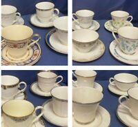 Vintage Mismatched tea cups & saucer lots~Floral ~ Platinum Ivory~ Tea Party!