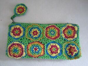 Cupcakes & Cartwheels Multicolor Crochet Zipper Pouch Make up Coin Phone Bag