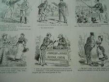 Gravure 1880 - caricature vignette Jumelles de voyage marine course