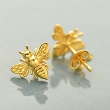 24K Gold Vermeil Bumblebee Honey Bee Studs Stud Post Earrings - Gift Mom Wife