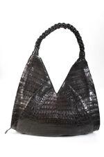 Nancy Gonzalez Womens Alligator Hobo Tote Handbag Dark Brown