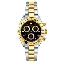 Vetania Grand Prix Swiss Quartz Chrono Men's Two-tone St. Steel Blk Dial Watch