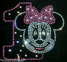 Minnie Mouse pink/clear 1st Birthday iron on rhinestone transfer decal for shirt