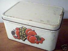 Metal Bread Box Deco Ware USA Fruit Strawberry Country Vintage