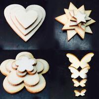 100Pcs Wooden MDF Shapes Hearts Butterfly Polishing DIY Craft Hang Decoration