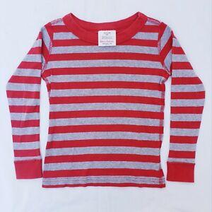 Hanna Andersson Kids' Organic Cotton Red & Gray Striped PJ Top - sz 100 (US 4)