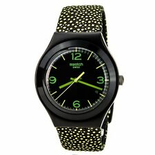 New Swatch Irony Yellow Drops Leather Band Date Watch 38mm YGB4004 $105