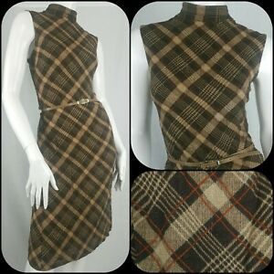 Zara Dress Size M/12 Autumn Winter Plaid Check High Neck Retro 70s