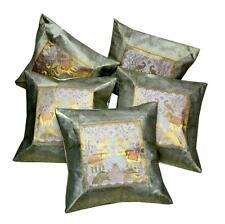 5 Designer Elephant Embroidery Banarasi Brocade USA Gray Pillow Cushion Covers