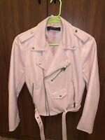 Zara Basic Women's Biker/Moto Jacket Sz M Pink Faux Leather