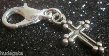 10 Silver Tone Gothic Cross Clip on Charms for Bracelets / Jewellery  Wholesale