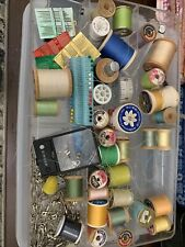 vintage sewing supplies lot, Wooden Spools, Needles, Safety Pins, Tape Measure