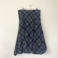 George Skirt 14 Grey Black Checked Wool Blend Aline Midi Godet Flippy Winter NEW