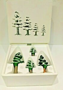 Department 56 VILLAGE PORCELAIN PINES, Snowy Pine Trees Old Style Department 56
