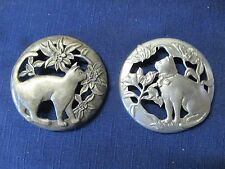 """Vtg 1988 Seagull Pewter Canada CAT 3 1/8"""" LID + 2nd 3"""" Lid with Cat Set of 2"""