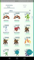 Pokemon account go level 34, 46 total shiny, 71 legendary,10Mythical,3000 coins