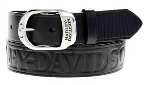 Harley-Davidson Men's Slide Over Belt Black Leather HDMBT10588