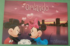 Mickey & Minnie Mouse Holding Hands in Orlando Florida Sunset Disney Postcard