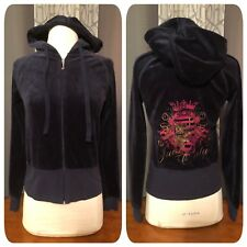 JUICY COUTURE Navy Blue Gold Dog Pink Crest Graphic Back Hoodie Track Jacket M